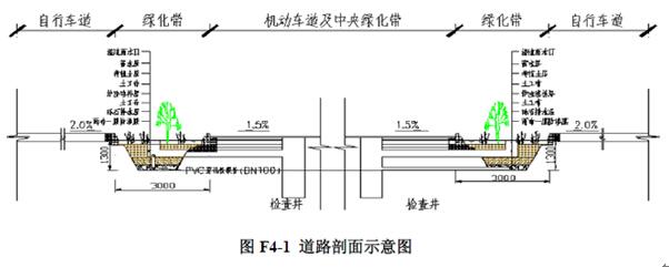 图f4-1和f4-2分别是道路剖面示意图和生物滞留带